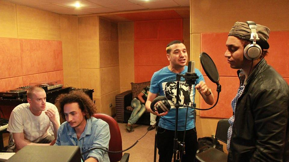 Cairo calling artists, recording vocals in the studio