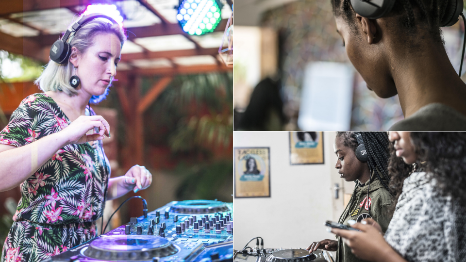 Composite: Emily DJing, young female DJs practicing at the decks