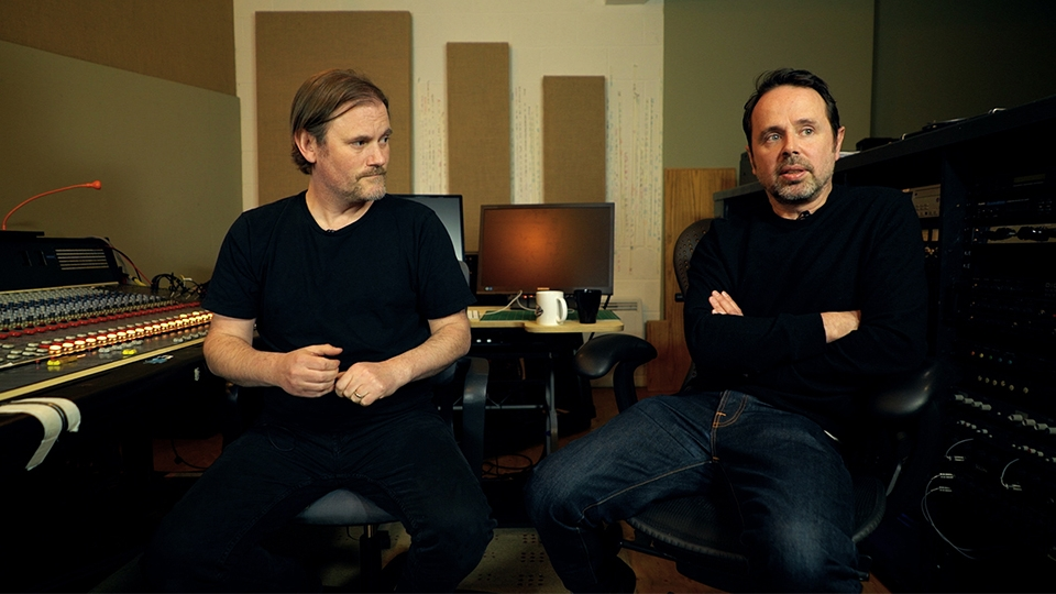 Film composer duo Geoff Barrow and Ben Salisbury discuss music for film in their studio