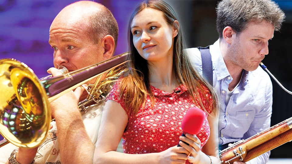 LSO musicians Paul Milner, Rachel Leach and Joost Bosdijk