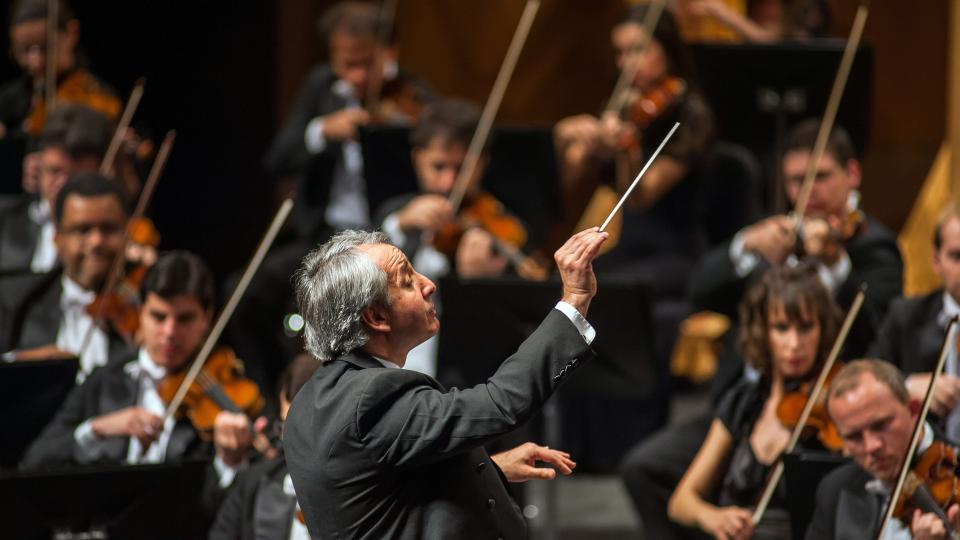 Orchestral musicians perform while being led by a conductor