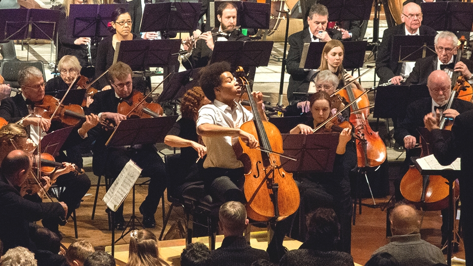 Cellist Sheku Kanneh-Mason performing the Elgar Cello Concerto in London, March 2018
