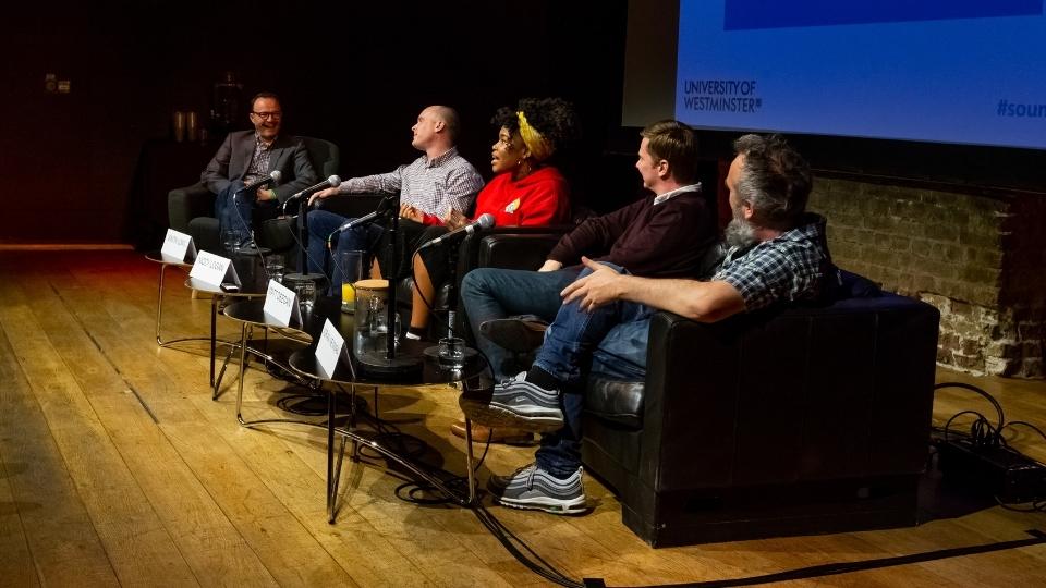 Matthew Linfoot chairs a panel including Simon Long, Niccy Logan, Matt Deegan and Adrian Newman from Reprezent Radio